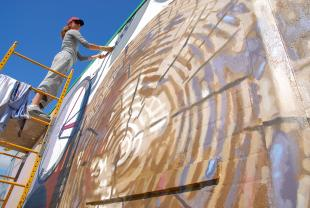 SLIDESHOW UPDATE: Burien mural sizzles in the sun; Community Meet and Greet with Artist Augustina Droze