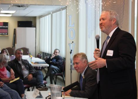 Mayor Mike McGinn, right, and Sen. Ed Murray spoke at the West Seattle Senior Center during a forum Sept. 17.